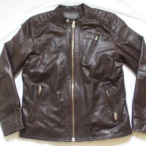 Zara Genuine Leather Dark Brown MoTo Jacket Sz. M